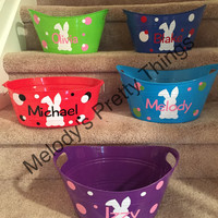Personalized Easter Buckets, Easter bunny treat basket, Plastic Oval Buckets, Custom Easter Buckets, Personalized bucket, Custom Oval bucket