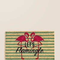 Let's Flamingle Door Mat