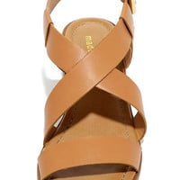 Madden Girl Tulum Cognac Heeled Sandals