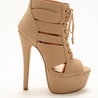 Nude Laced Up Cut Out Platform Heels