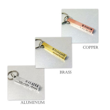 4 Sided Dog ID Bar / The Cocoa / Aluminum, Brass or Copper / Personalized / Special Needs Dog