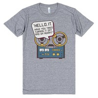 IT Crowd Inspired - Hello IT - Turn it Off and On Again - Tech Support Parody | Athletic T-Shirt | SKREENED
