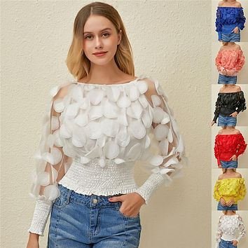 Sexy Off Shoulder Womens Tops And Blouses 2020 Mesh Sheer Puff Sleeve Tops Summer 3D Flower Vintage White Women Shirt Blouse