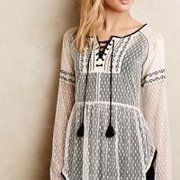 Lace-Front Peasant Blouse by Hazel Ivory