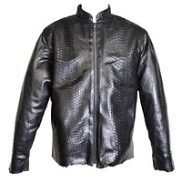 Dark 8 Fabric Finished Python Skin Biker Jacket