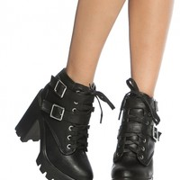 Black Faux Leather Chunky Buckle Up Lug Sole Booties @ Cicihot. Booties spell style, so if you want to show what you're made of, pick up a pair. Have fun experimenting with all we have to offer!