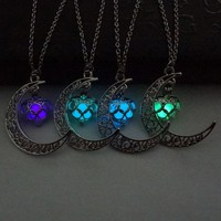 Glow In The Dark Crescent Moon Necklace *