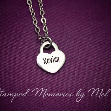 Personalized Name Necklace - Hand Stamped Stainless Steel Heart Lock - Mom, Sister, Daughter, Aunt, Grandma Godmother Necklace Gift for Her