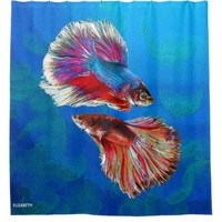 Two Fighting Psychedelic Colorful Fish Psychedelic Shower Curtain