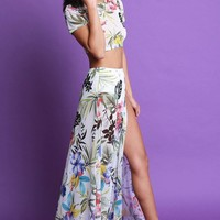 Tropical Print Mesh Short Sleeves Crop Top With Slit Maxi Skirt Set