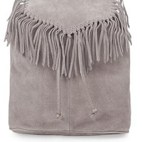 Suede Fringe Backpack - Grey