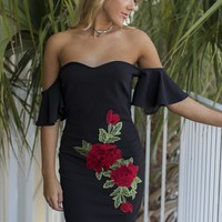 Hold On Tight Black Rose Applique Dress