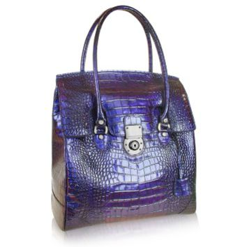 L.A.P.A. Designer Handbags Croco Stamped Leather Flap Tote Bag