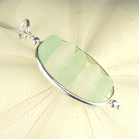 Sea Glass Necklace Aqua And White In Sterling Silver Oval Cage