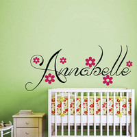 Girl Name Wall Decal Custom Personalized Girls Name Decor Vinyl Decal Kids Teens Girls Room Wall Decal Nursery T120