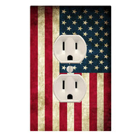 American Flag Wall Plug Cover Decal Outlet Red White and Blue LS48WP