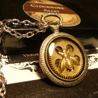 Steampunk Bee with Gears Pocket Watch Style Pendant Necklace (1804)