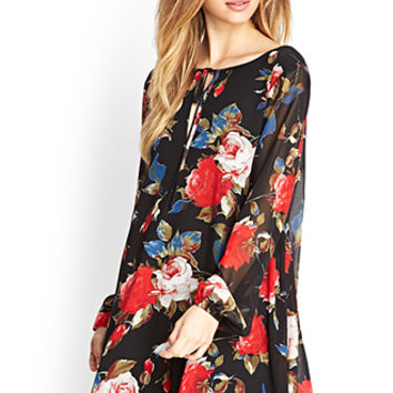 FOREVER 21 Cutout Rose Swing Dress Black/Red