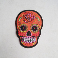 SUGAR SKULL Cloth Patch Iron or Sew Embroidery Tattoo Patches ORAMGE