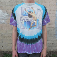 90s Tie Dyed LED ZEPPELIN Distressed T-Shirt Sz XL