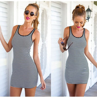 Beach Sexy Vest Sleeveless Mini Stripes One Piece Dress [4981690436]