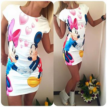 Women's Cute Minnie Mouse & Mickey Mouse Short Sleeve Summer Dress