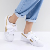Puma Basket Heart Sneakers In White With Gold Glitter at asos.com
