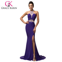 Elegant Micro-Fiber Halter Long Slim Sheath Mermaid Purple Prom Dresses Floor Length Sequins Beading Sexy Prom Gown Formal Party