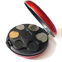 SAE Fortion Round Euro Coin Dispenser Storage Coins Purse Wallet Holders Storage Box Aluminum Alloy+ Plastic Coins Purse Wallet
