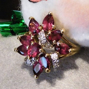 Garnet and Diamond Ring Vermeil Gold over Sterling Silver Rhodolite Garnet Cocktail Cluster Waterfall Ribbon Pearl Facet Gemstone Gem Size 8