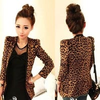 Leopard Pattern Open Long Sleeve Blazer Coat
