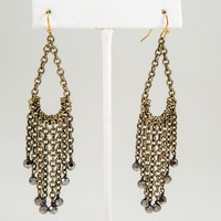 Tassel Chain Earrings, Gold or Silver with Beads
