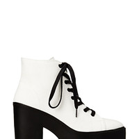 FOREVER 21 Standout Canvas Booties White