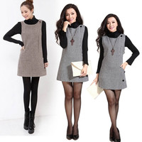 Autumn Winter Women Sweater sleeveless vest wool houndstooth dress one-piece  W_C = 1958319684