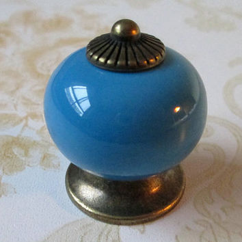 Blue Drawer Knob / Cabinet Knobs Pull / Dresser Knobs Pulls Handles Colorful / Ceramic Knobs Porcelain Antique Bronze Turquoise Hardware