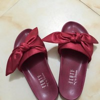 Tagre PUMA fenty rihanna silk slides sneakers-spring-Bow Slide Sandals Shoes (10-color) Wine red