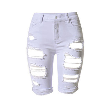 Europe Style Half Ripped Jeans