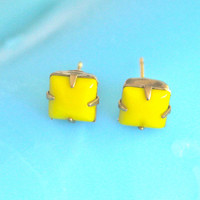 Yellow Square Glass Vintage Rhinestone Post Earrings - Upcycled ,Wedding, Bridesmaids , Bridal, Beach