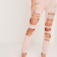 Missguided - Riot High Rise Extreme Rip Slim Leg Jeans Pink