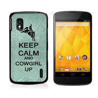 Keep Calm And Cowgirl Up Teal-Floral Google Nexus 4 Case - For Nexus 4