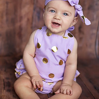 Lavender & Gold Polka Dot Baby Bubble Ruffle Romper Sun Suit Set