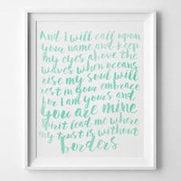 Oceans by Hillsong United Printable - Watercolor - Lyrics - Spirit Lead Me Where My Trust Is Without Borders - Where Feet May Fail