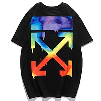 Off Whitre New fashion letter arrow print couple top t-shirt Black