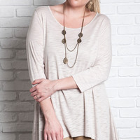 Relaxed Fit Crew Neck Knit Top - Natural