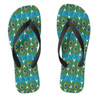 Retro Peacock Feather Motif design Flip Flops | Zazzle.co.uk