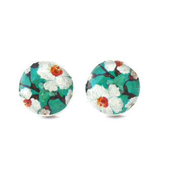 Teal spring floral studs post earrings eco friendly floral jewelry wood jewelry etsy wood earrings flower jewelry eco fashion for her