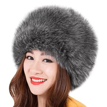 Elegant Women Fur Hat New Women's Winter Warm Soft Fluffy Faux Fur Hat Russian Cossack Beanies Cap Ladies New Hats Bonnet