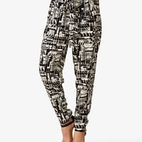 High-Waisted Geo Print Pants