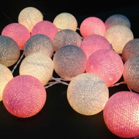 Vintage Pastel Cotton Ball Patio Party String Lights Fairy Wedding Decor = 1697635780