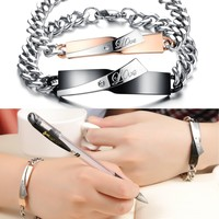His or Hers Matching Set Couple Titanium Stainless Steel Bangle Bracelet Simple Love Simple Korean Style Anti-fatigue in a Gift Box (Hers)